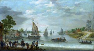 Річкова сцена з човнами