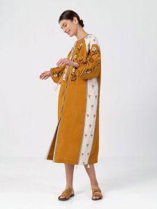 Вышиванки ручной работы Льняное платье с растительным орнаментом April Yellow