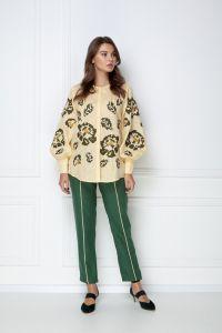 Одежда из льна «Камелия» бежевая блуза