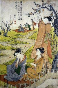 Восточная живопись Общество в весеннем саду №2