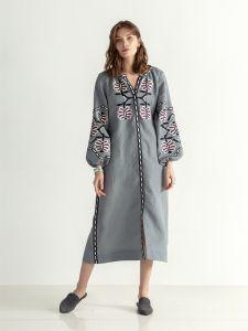 Вышитые платья Льняное миди платье на кнопках с вышивкой Butterfly Dress