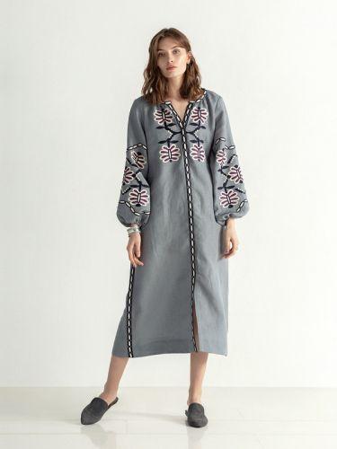 Льняное миди платье на кнопках с вышивкой Butterfly Dress