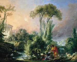 Буше Франсуа Пейзаж с античным храмом
