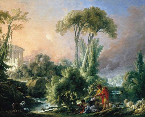 Пейзаж с античным храмом