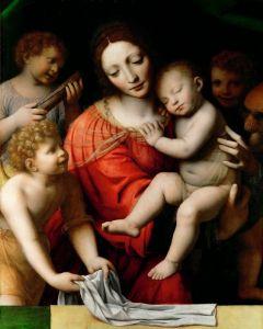 Луини Бернардино Мадонна со спящим Христом и три ангела