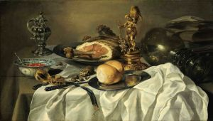 Бароко Натюрморт з шинкою, сільницею, хлібом, Ремер, книгами, кишеньковими годинами та ін об'єктами