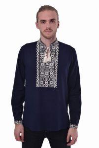 Embroidered apparel - Men Чоловіча вишиванка «Поділля» темно-синя