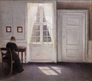 Хаммерсхей Вильгельм Комната в доме художника на Strandgade в Копенгагене с женой художника