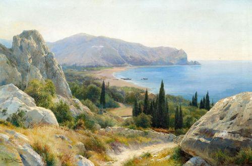 Літній пейзаж з прибережними скелями