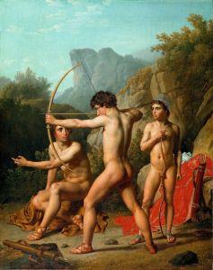 Три спартанских мальчика стреляют из лука