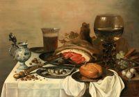 Натюрморт с ветчиной, рёмером, хлебом, сельдью и др объектами