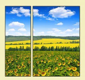 Модульные картины Весенний пейзаж с подсолнухами №2