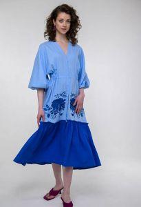 Платье вышиванка ручной работы Вышитое платье Журавка голубое