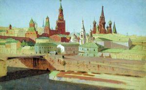 Куинджи Архип Вид на Москворецкий мост, Кремль и храм Василия Блаженного