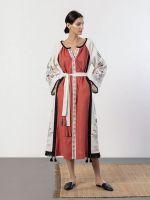 Длинная льняная платье с орнаментом Cometa Red