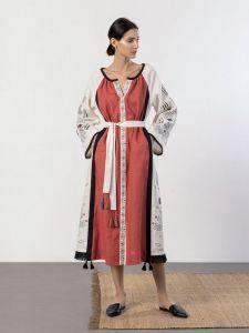ЕтноДім Довга лляна сукня з орнаментом Cometa Red