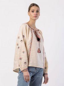 Вишиті жіночі сорочки ручної роботи Вишиванка з бежевого льону з геометричним рослинним Cream Soda