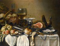 Натюрморт с фруктами, ветчиной, устрицами, хлебом и др объектами