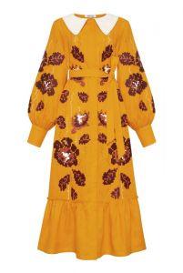 """Платье вышиванка ручной работы """"Адель"""" горчичное платье-миди с воротником"""