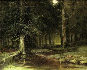Клевер Юлий Взгляд в лесу в сумерках