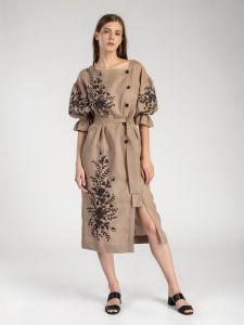 Довга сукня з рослинним орнаментом Beige Swan