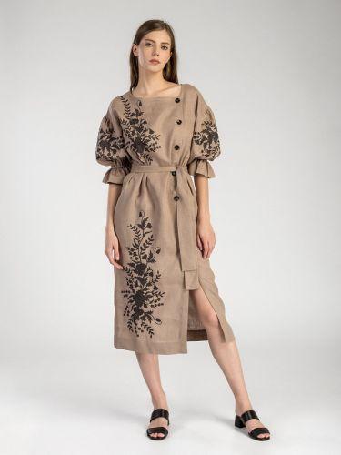 Длинное платье c растительным орнаментом Beige Swan