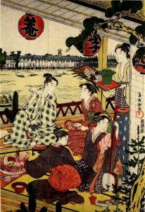 Східний живопис Товариство на веранді чайного будинку на березі річки