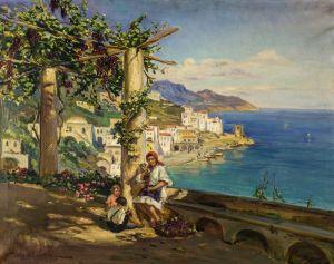 Печатные картины на холсте Молодая семья на Капри