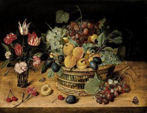 Соро Исаак Корзина с фруктами и цветы в стеклянной вазе