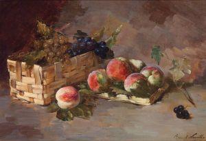 Брюнель де Нёвиль Альфред-Артур Натюрморт с персиками и виноградом в корзинке