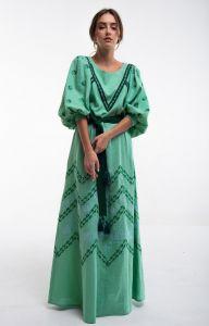 2KOLYORY Платье вышитое Леля зеленое