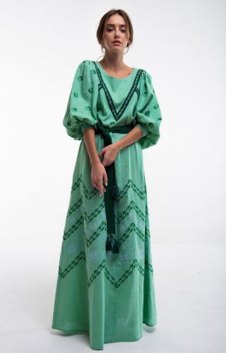 Платье вышитое Леля зеленое