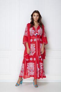 Платье вышиванка ручной работы «Виктори Шик» красное платье-макси