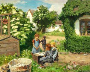 Брендекильде Ганс Андерсен Маленькие девочки устроили чаепитие под большим цветущим кустом