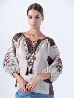 Блузка из льна с растительным орнаментом Barvinok Grey