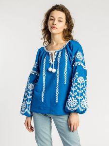 Вишиті сорочки жіночі Лляна вишиванка з рослинним орнаментом синього кольору Botanic blue