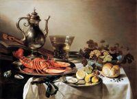 Стол с омаром, беркемайером, фруктами, скрипкой и книгами