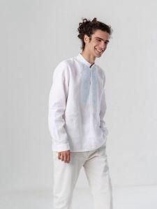 Мужские вышиванки Мужская льняная рубашка c вышивкой Sky