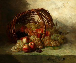 Брюнель де Нёвиль Альфред-Артур Натюрморт с персиками, виноградом и корзиной