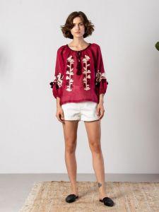 Вишиті жіночі сорочки ручної роботи Вишиванка в бохо стилі з бордового льону Red Daisy