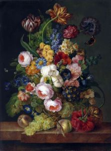 Барокко Натюрморт с цветами, фруктами и насекомыми