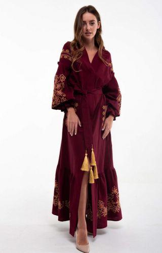 Платье вышитое Дикая вишня