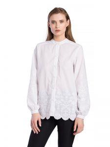Женские вышиванки Белая батистовая блузка с вышивкой Sam White