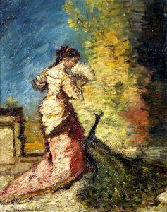 Печатные картины на холсте Женщина с павлином