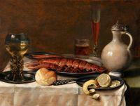 Натюрморт с омаром, рёмером, глиняным кувшином, хлебом и др объектами
