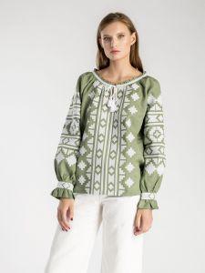 Модная женская одежда Вышиванка оливкового цвета с геометрической вышивкой Ethnic3