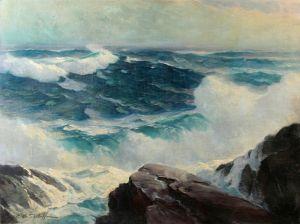 Печатные картины на холсте Грохот волн о скалы