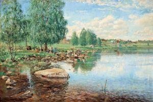 Йоханссон Карл Пейзаж с рыболовом