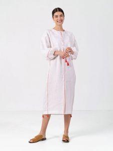 Вышиванки ручной работы Белое льняное платье с растительным орнаментом White Flower