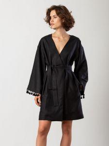 Вышиванки ручной работы Черное льняное платье-кимоно Kim Black